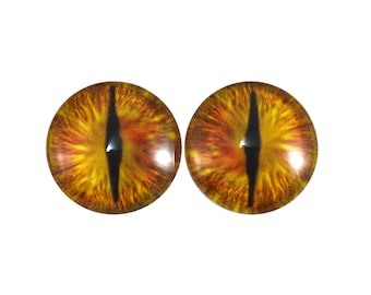 20mm Golden Dragon Glass Eyes Pair of Cabochons - Fantasy Eyes for Art Doll or Jewelry Making - Set of 2