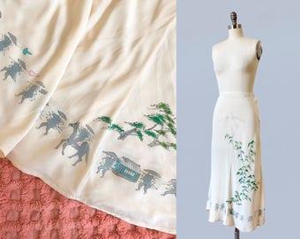 RARE 1930s Skirt / 30s HAND PAINTED Silk Skirt / Chinoiserie / Figural Asian Motif