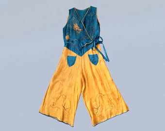 RARE!! 1930s Beach Pajamas / 30s Satin Brocade Color Block Jumpsuit /  Dragon Embroidery! / Chinoiserie / Blue and Gold