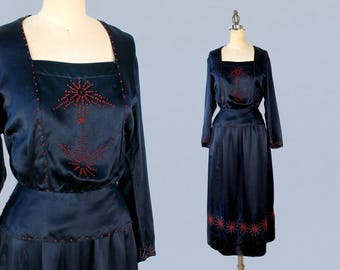 1920s Day Dress / Early 20s Late Edwardian Skirt and Blouse / Navy Blue Silk Satin /Two Piece Set / French Knot Embroidery Rare