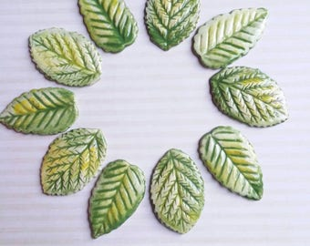 10 large leaves hand painted and kiln fired two textures ceramic mosaic tiles