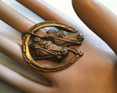 Vintage 1930s 1940s Brass Horse Equestrian Figural Brooch 30s 40s