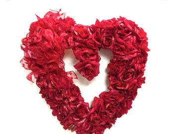 "CHRISTMAS IN JULY Valentines Day Wreath Mothers Day Silk Heart Shaped Wreath Silk Rose Wreath (16"")"