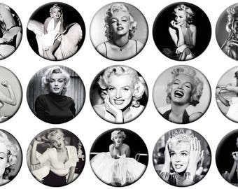 "2-1/4"" - MARILYN MONROE - Black & White  -  Lot of 15 Buttons - Pin Back Button Badge"