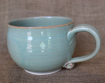 Large soup bowl with handle, wheel thrown, stoneware, Large soup mug, 22 oz