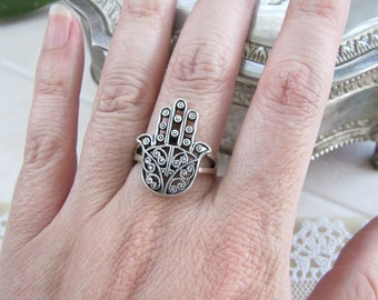 Vintage Hamsa Hand Sterling Silver Ring, size 8