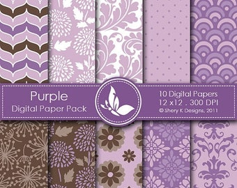 40% off Purple Paper Pack - 10 Printable Digital Scrapbooking papers - 12 x12 - 300 DPI