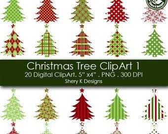 40% off Christmas Tree Clip Art - 20 Digital clip art - 5x4 - 300 DPI