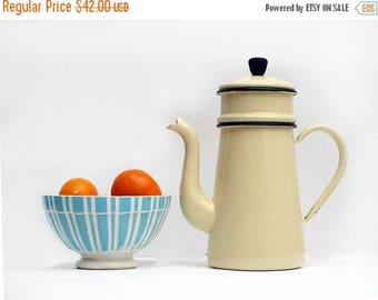French Vintage  Enamelled Coffee Pot with Filter Pastel , French antique creamy yellow enamel coffee pot, enamelware