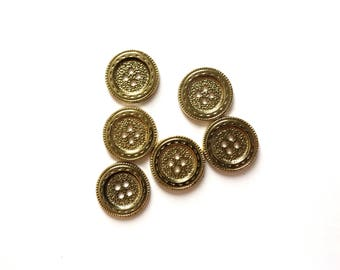 6 Gold Plastic Buttons, 18mm