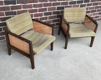 Midcentury Modern Dunbar Caned Arm Chairs