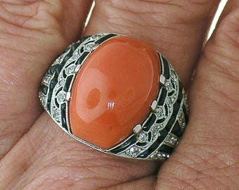 CORAL, Black Onyx, Diamond Ring in Art Deco Design Pattern