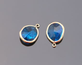 Jewelry Making Supplies, Gold Sapphire Teardrop Stone Pendant, Light Blue Glass Stone connector,  Gemstone Bead Pendant, 2 pc, JW8227