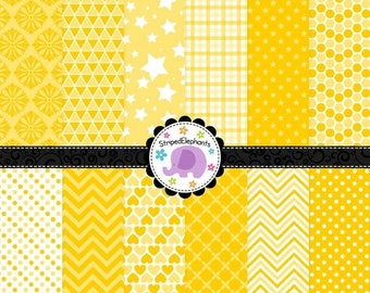 40% OFF SALE Yellow Digital Scrapbooking Papers, Yellow Digital Paper Pack, Sunny Digital Paper Pack, Instant Download, Commercial Use