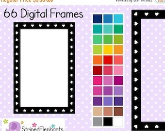 40% OFF SALE Heart Rectangle Digital Frames 2 - Clip Art Frames - Instant Download - Commercial Use