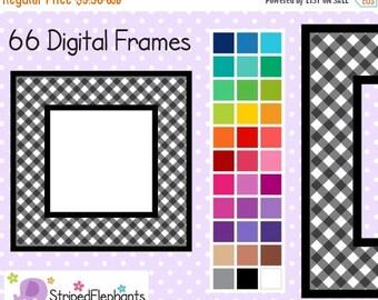 40% OFF SALE Gingham Square Digital Frames - Clip Art Frames - Instant Download - Commercial Use