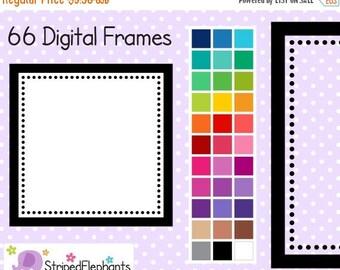 40% OFF SALE Dotty Square Digital Frames - Clipart Frames - Instant Download - Commercial Use