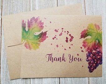 Wine Theme Thank You Notes, Wine Thank You Notes, Rustic Vineyard Thank You's, Wine Thank You