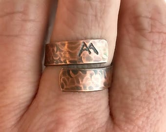 Copper Mountain Wrap Ring, hand stamped ring, rustic jewelry, hammered ring, adjustable band, hiking gift, climbing jewelry, unisex ring