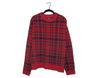 Vintage Pendleton Red Plaid 100% Wool Sweater, Made in USA - Large