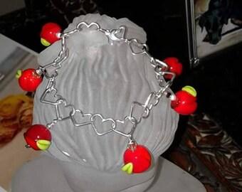 Cherries in bloom sterling silver bracelet w/matching earrings