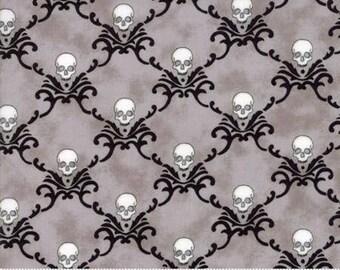 Eerily Elegant Wicked Grey Skulls 19814 15 by Deb Strain for Moda