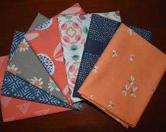 Curiosities Navy and Coral Fat Quarter Bundle of 7 by Jeni Baker for Art Gallery Fabrics