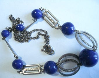 Art Deco Necklace Chrome and Blue Beads  20's 30's