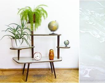 Vintage 60er Jahre Indoor-Anlage Stand, Holz Pflanze steht, MidCentury Blume Rack, Pflanze Stand / grauem Marmor weiß
