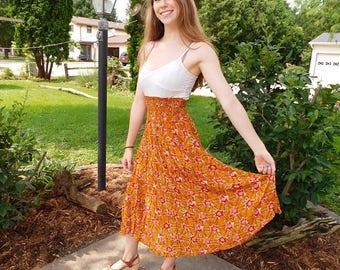 Birthday Sale Vintage Forenza High Waisted Rayon Skirt with Pockets, 80's Skirt