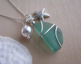 Sea Glass Necklace with Starfish and Pearl Beach Glass Jewelry Bridesmaids Gift Beach Wedding Destination Wedding