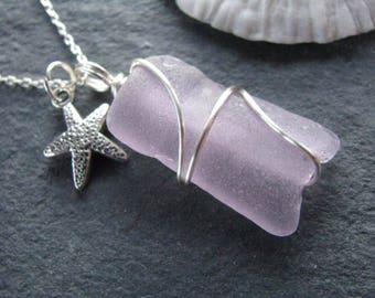 Sea Glass Jewelry Purple Sea Glass Pendant Soft Lilac Beach Glass Necklace with starfish charm