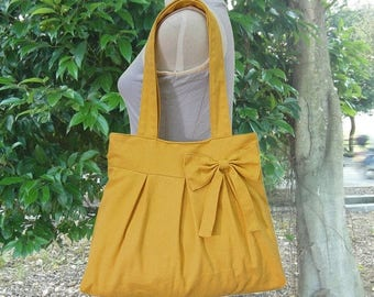 On Sale 20% off Golden cotton canvas tote bag / shoulder bag / hand bag / diaper bag / canvas purse- zipper closure