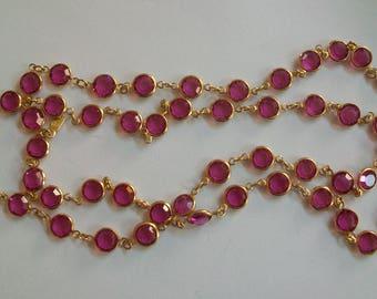 Fuschia Swarovski swan crystal necklace, pink, bezel set crystal, signed, long, ht pink and gold, magenta, single strand, endless, claspless
