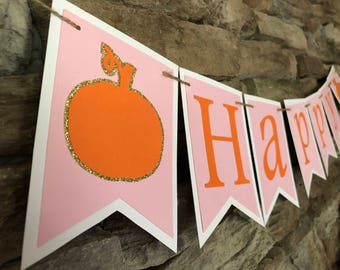 Pumpkin birthday banner, little pumpkin banner, little pumpkin theme