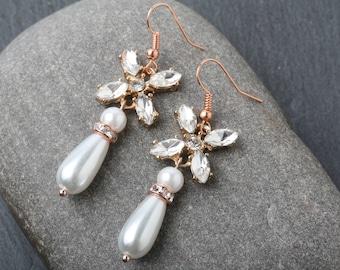 Rose Gold Wedding Earrings, Bridal Earrings, Crystal Earrings, Pearl Drop Earrings, Crystal Bridal Earrings, Rose Gold Earrings