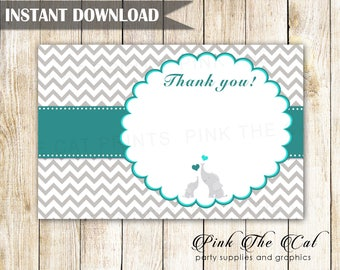 Elephant baby shower thank you cards, baby shower elephant thank you notes, printable thank you cards blank, teal silver INSTANT DOWNLOAD