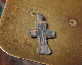Antique small Old cross Christian Cross pendant. Orthodox church