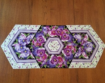 Purple Pansy Flowered Quilted Table Runner Topper