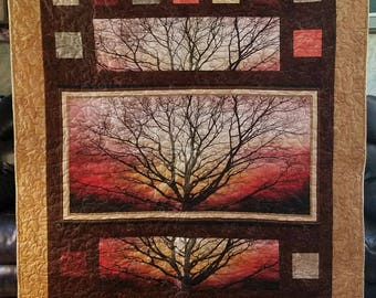 Winter Sunset Tree Quilt in Fall Colors