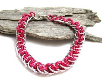 Dark Rose Chain Maille Bracelet - Pink Viperbasket Chainmaille Bracelet - Chain Bracelet