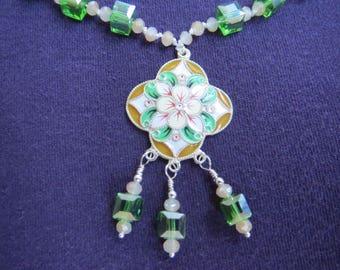 Cloisonne Enamel Flower Pendant on Green & Gold Crystal Necklace