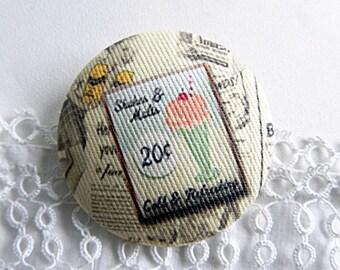 Button printed fabric Ice Cream - 40 mm / 1.57 in diameter
