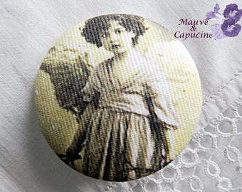 Fabric button  printed retro angel, 1.25 in / 32 mm