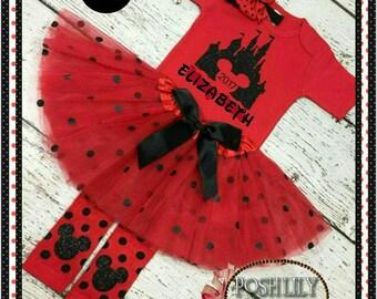 Minnie tutu Outfit, red and black polka dot tutu, red minnie first trip castle tutu set, red and black polka dot smash cake outfit