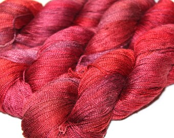"Pure silk ""Gloss""  hand dyed laceweight yarn"
