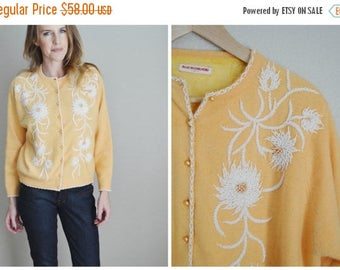 Summer SALE - 20% off - vintage 50s peach sherbet beaded cashmere cardigan sweater -- size 42-- womens large