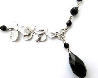 Black crystal orchid necklace, teardrop pendant, matte silver flower link, steel chain, dark silver, all austrian crystal black bead jewelry