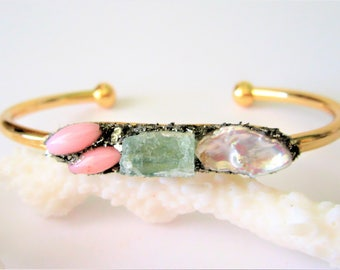 Raw Gemstone Jewelry, Raw Stone Bracelet, Raw Crystal Cuff Bangle, Bridesmaid Gifts, Gift For Women, Aquamarine Bracelet, Natural Glam