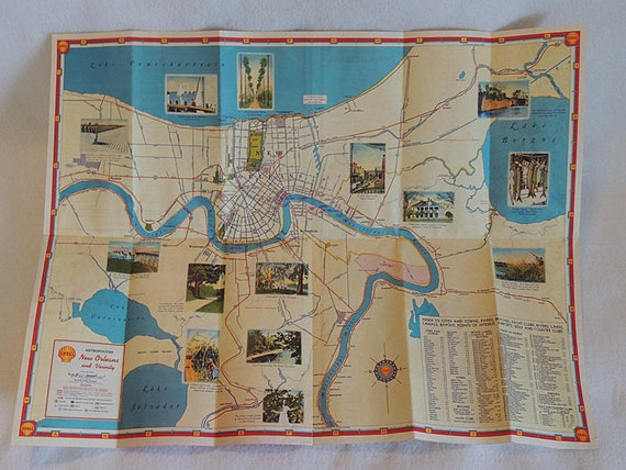 "1949 Shell Oil Highway Road Map.. City New Orleans With Photos.. 18"" x 24"""